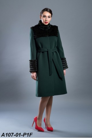 Wool coat with belt and leather straps and cuffs