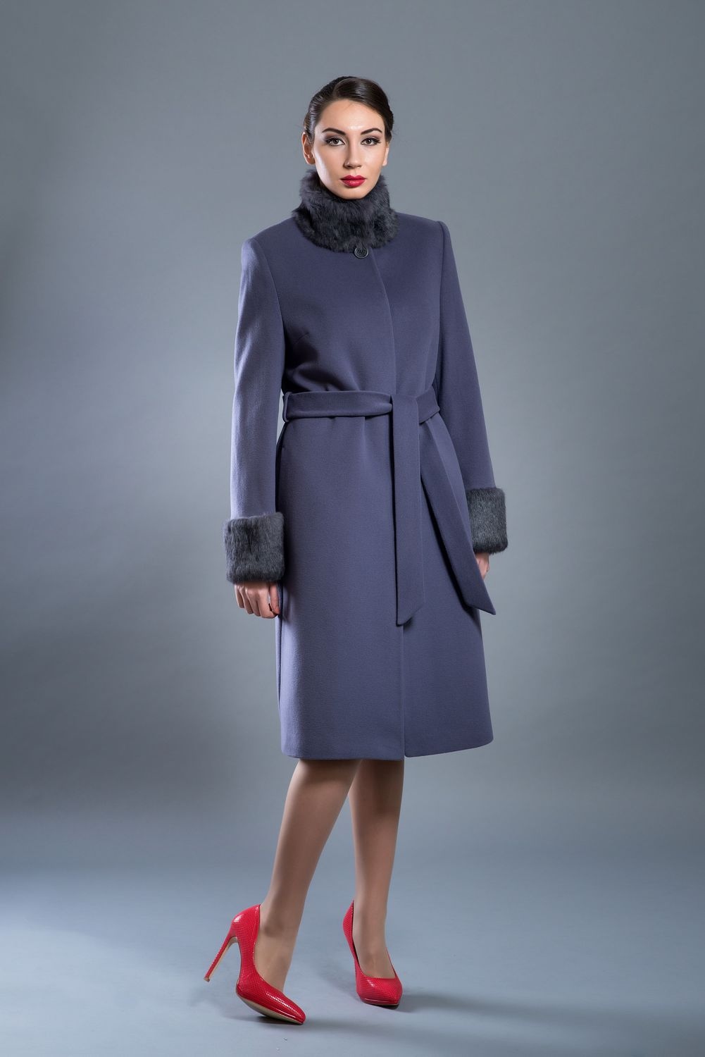 Belted wool coat with fur collar and cuffs
