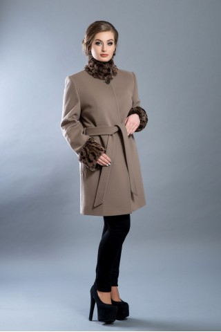 Mid length, belted wool coat with stand fur collar and fur cuffs