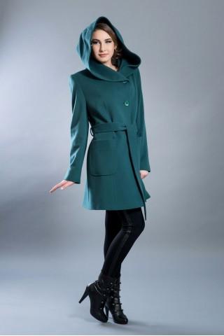 Pure fine wool coat with hood