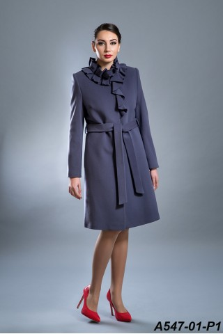 Belted wool coat with ruffles