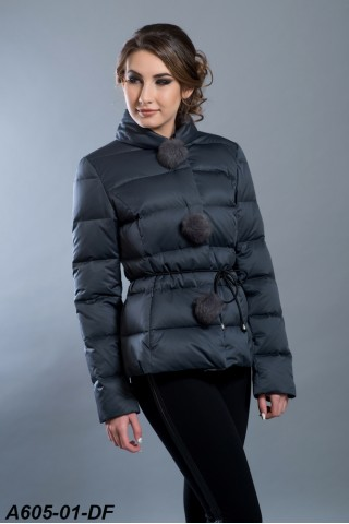 Down filled jacket with pompons