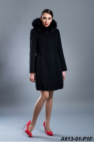 Wool coat with fox trimed hood