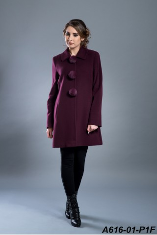 Wool coat with pompons