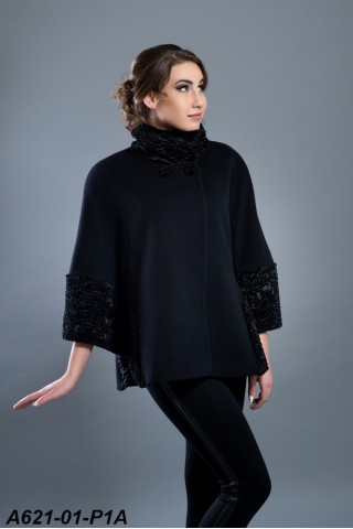 Wool cape with fake astrakhan trims