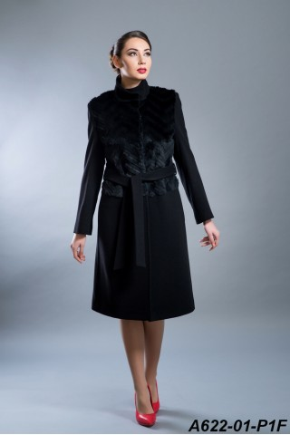 Wool coat with rabbit panel front