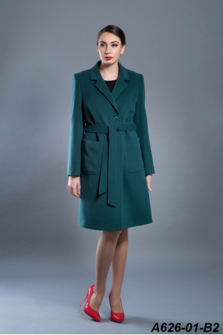 Belted wool coat with lapel and patch pockets