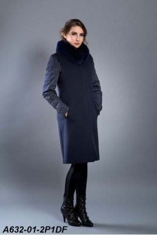 Wool mix-media coat with fox trim